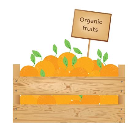 Boîte en bois de légumes biologiques nad nad illustration vectorielle Banque d'images - 90057193