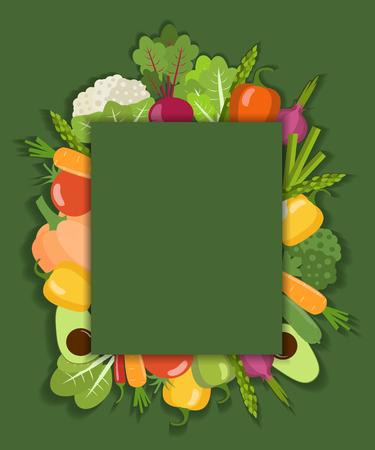 Vector vegetable background. Flat design Illustration