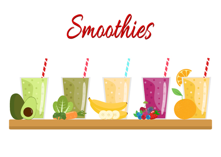 Cartoon smoothies. Orange, berry, banana, green and avocado smoothie. Organic fruit shake smoothie. Flat design. Vector illustration.