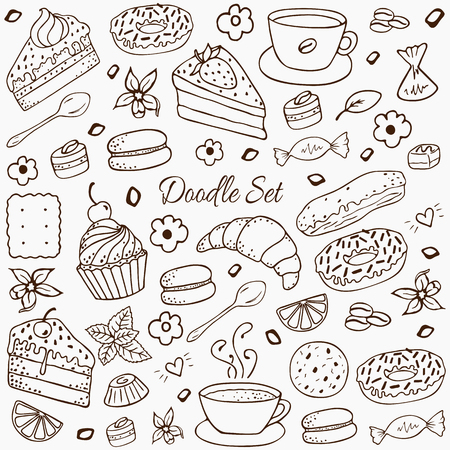Coffee and bakery hand-drawn elements set