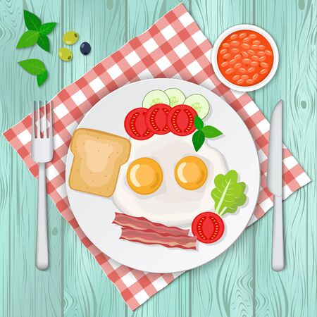 Vector illustration of omelette with bacon and vegetables.  Scrambled eggs breakfast.