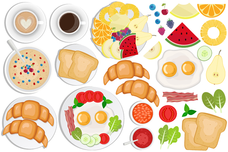 Breakfast set. Coffee, toasts, croissants, omellette, fruits, jam, oatmeal Illustration