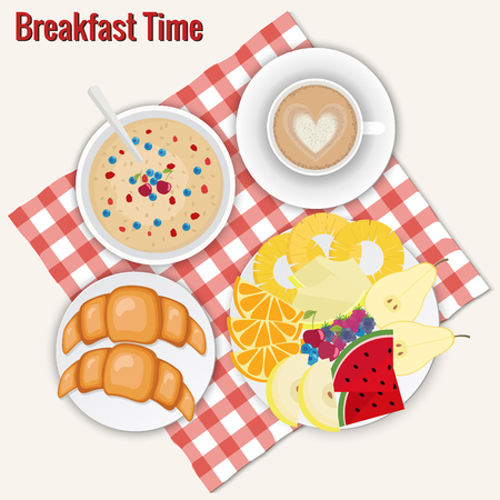 Coffee cappuccino, croissants, oatmeal, fruits plate. Breakfast vector illustration