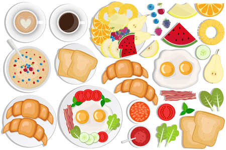 Breakfast set. Coffee, toasts, croissants, omellette, fruits, jam, oatmeal, beans, bacon, cappuccino, eggs. Illustration