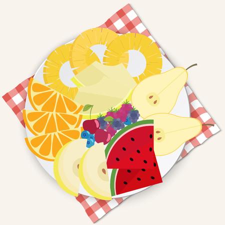 Fruit plate flat design illustration