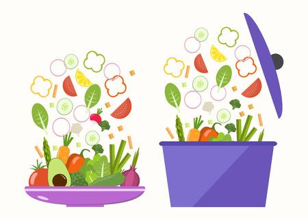 Vegetable plate. Vegetable pan. Slices of vegetables.