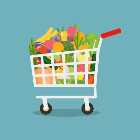 Shopping cart with vegetables and fruits Stock Illustratie