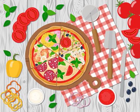 Pizza slices on board. Illustration