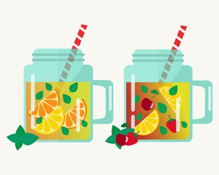 Lemonade in jars illustration