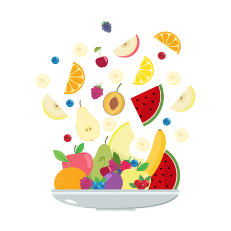 Fruit plate. Vector illustration.