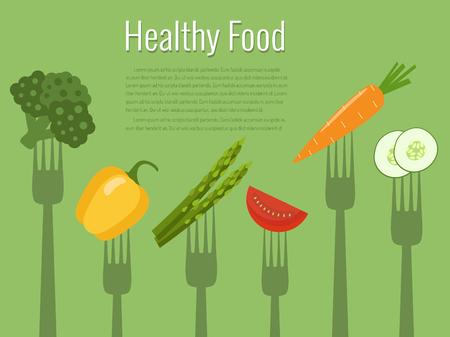 Vegetables on forks. Healthy food vector illustration