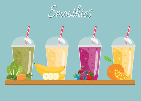 Cartoon smoothies. 向量圖像
