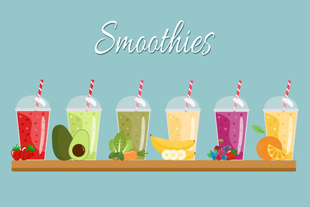 Cartoon smoothies. Иллюстрация