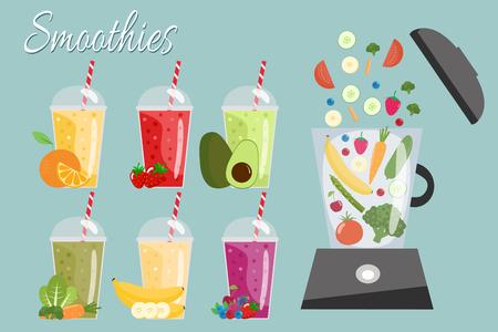 Cartoon smoothies. Illustration