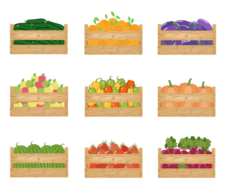 Fresh healthy vegetables and fruits in a wooden boxes