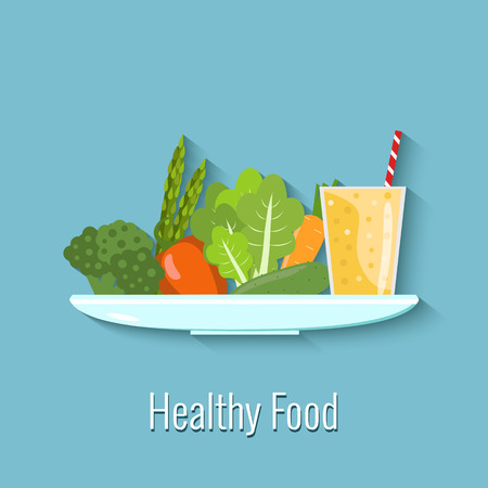 Vector illustration of healthy food. Vegetables and smoothie on a plate Illustration