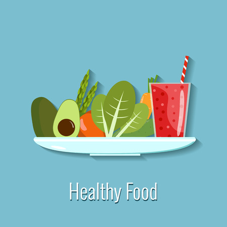 veg: Vector illustration of healthy food. Vegetables and smoothie on a plate Illustration