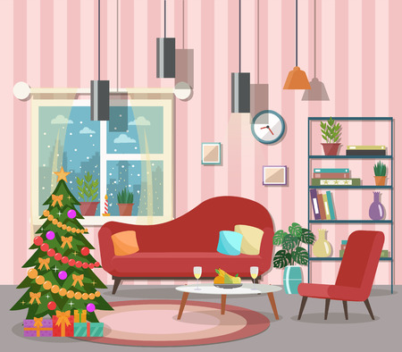Christmas And New Year In Modern Office Workplace Interior With ...