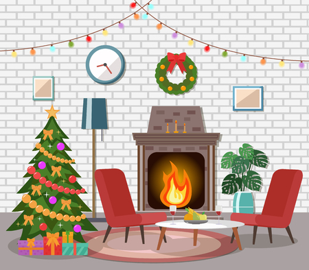 Christmas room interior. Christmas tree in the cozy living room. Illustration