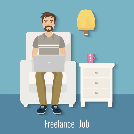 Freelance man working at the computer at home. Vector illustration.