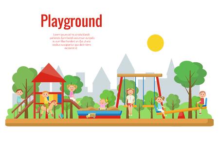 Ilustración de vector de patio infantil. Actividad de los niños Foto de archivo - 90253740