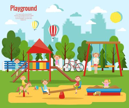 Children's playground vector illustration. Children's activity.