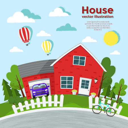 House illustration. Country house