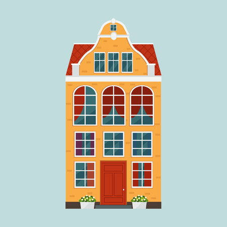 European colorful old house.