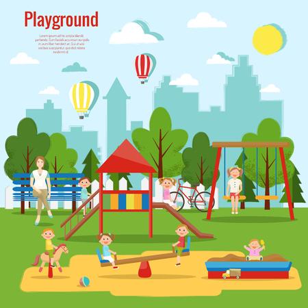 Ilustración de vector de juegos infantiles. Actividad infantil. Foto de archivo - 90253818