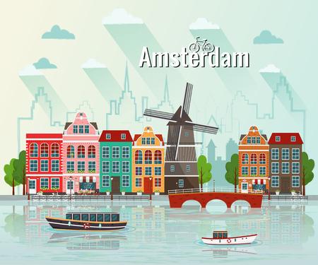 Illustration vectorielle d'Amsterdam. Vieille ville européenne.