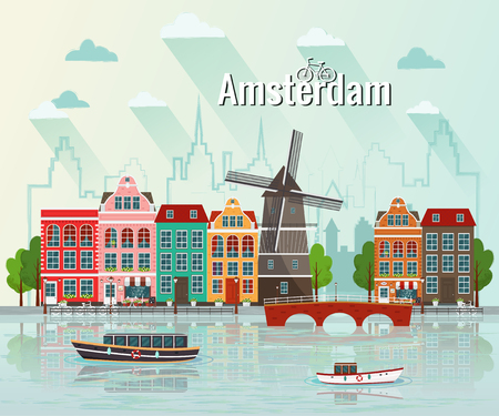 Vector illustration of Amsterdam. Old european city. Stock Illustratie