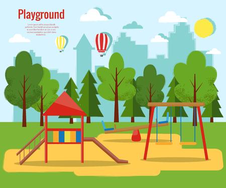 Children's playground vector illustration. Vectores