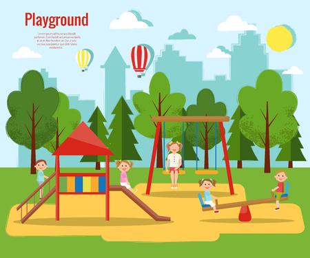 Ilustração vetorial do parque infantil infantil. Atividade infantil. Foto de archivo - 90283486