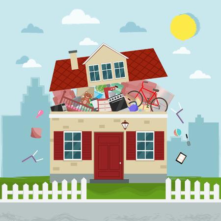 Het concept van overmatige consumptie. Huis barst van dingen. Vector illustratie. Stock Illustratie