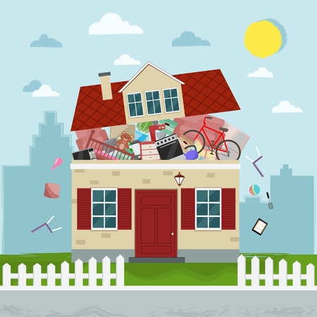 The concept of excessive consumption. House bursting of stuff. Vector illustration.