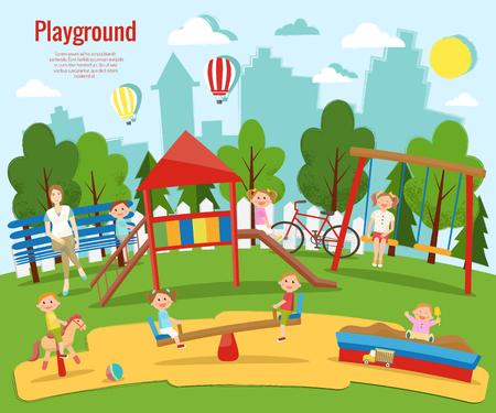 Ilustración de vector de patio infantil. Actividad de los niños Foto de archivo - 90254093