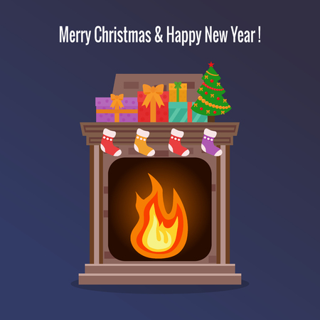 Home fireplace with fire and presents on it. Flat design.