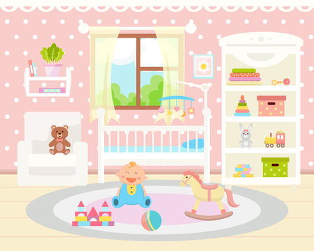Baby room interior. Flat design. Baby room with  toys, cot,  armchair and rug