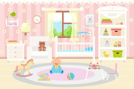 Wnętrze pokoju dziecięcego. Płaska konstrukcja. Ilustracje wektorowe