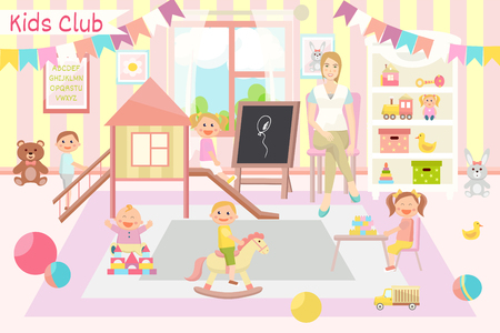 Kindergarten vector illustration. Kids club. Flat design. Childrens activity in the play room. Playing, education.