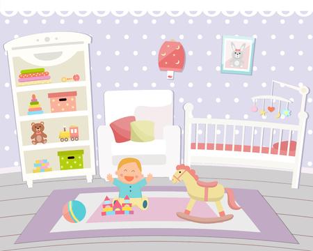 Baby room interior vector illustration.