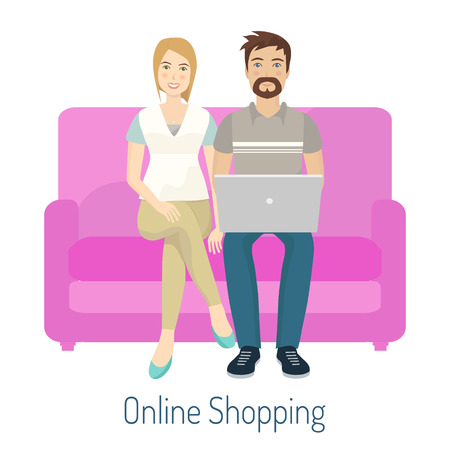 Couple doing online shopping. Man and woman sitting on sofa. Vector illustration.