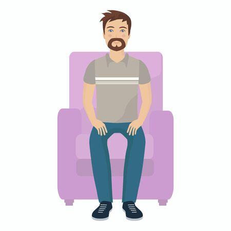 Hombre sentado. Diseño plano.