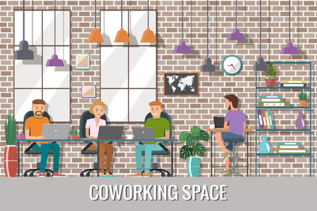 Vector illustration of coworking space. Working place, office. People working in the creative office. Flat design.