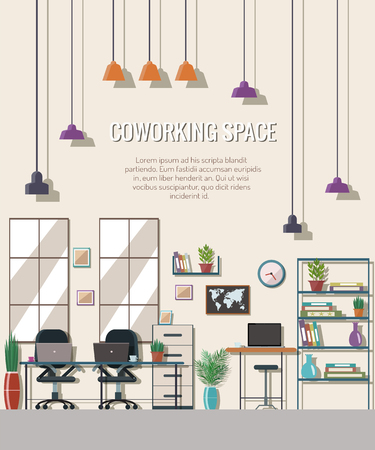 Vector illustration of coworking space. Working place, office. Flat design. Illustration