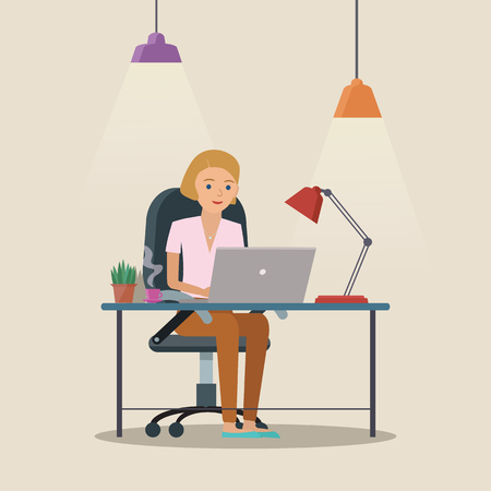 Man vector character working in the creative office or home. Freelance work. Workspace vector illustration.  イラスト・ベクター素材