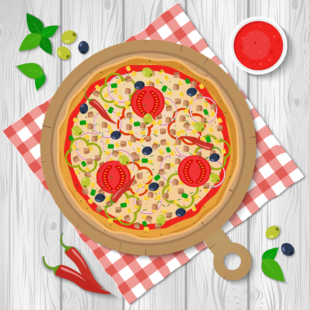 Pizza vector illustration. Mexican pizza.
