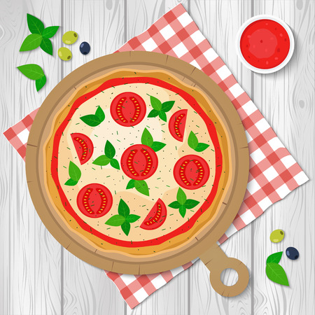 Pizza vector illustration. Pizza Margherita Illustration