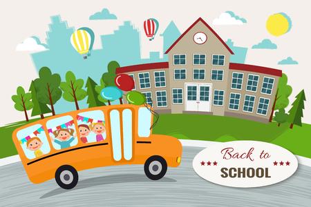 Willkommen zurück zu Schulvektorillustration. Schul- und Schulbus Standard-Bild - 90473366