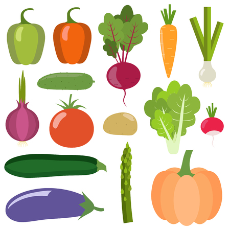 Set of fresh healthy vegetables isolated on white background. Flat design. Organic farm illustration. Healthy lifestyle vector design elements.